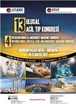 13. Ulusal Acil Tıp Kongresi, 4th intercontinental Emergency Medicine  Congress, 4th international Critical Care and Emergency Medicine Congress